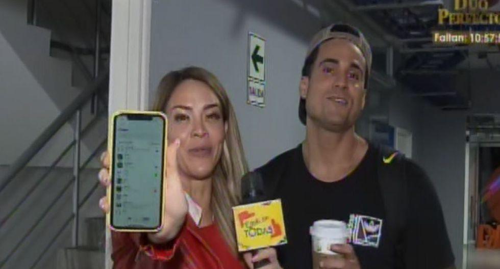 Sheyla Rojas revisa celular a Gino Assereto