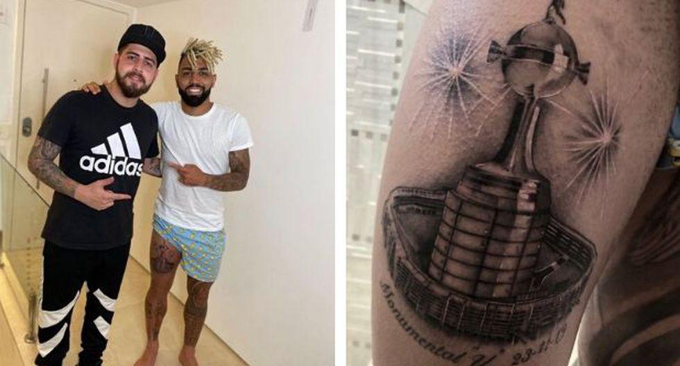 Gabriel Barbosa y su nuevo tatuaje con la pierna derecha: el Monumental y la Copa Libertadores